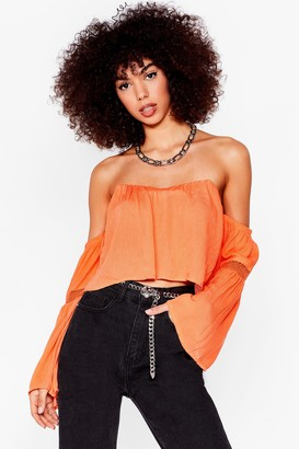 Nasty Gal Womens The Hole Story Crochet Off-the-Shoulder Blouse - Orange