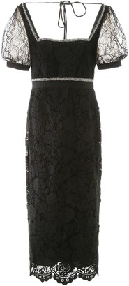 Self-Portrait Crystal Detail Midi Dress