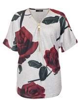 Quiz Grey Light Knit Rose Print Gold Zip Top