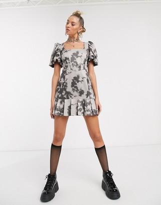 Jaded London milkmaid skater dress in distressed tie-dye