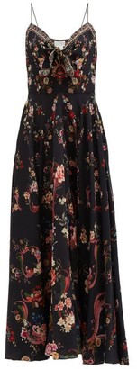 Camilla A Girl Like You Floral-print Silk Maxi Dress - Black Print