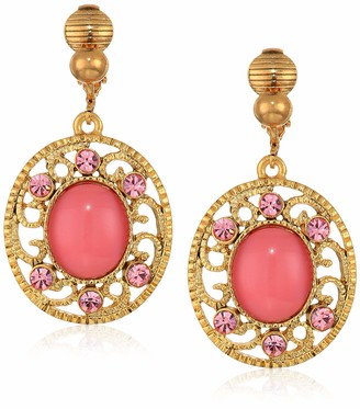 1928 Jewelry Women's Gold Tone Pink Moonstone with Light Pink Crystal Drop Clip Earrings