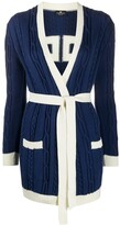 Elisabetta Franchi cable-knit belted cardigan