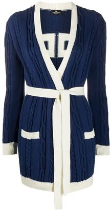Elisabetta Franchi cable-knit belted cardigan