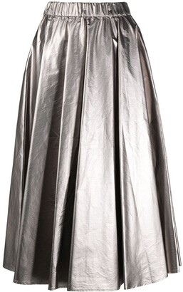 Moncler Metallic Pleated Midi Skirt