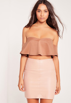 Missguided Frill Bardot Crop Top Nude