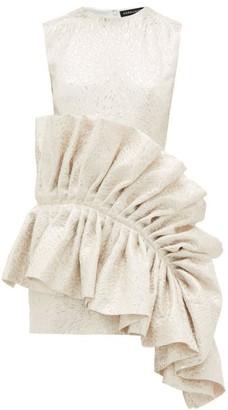 Germanier - Ruffled Upcycled Brocade Dress - White