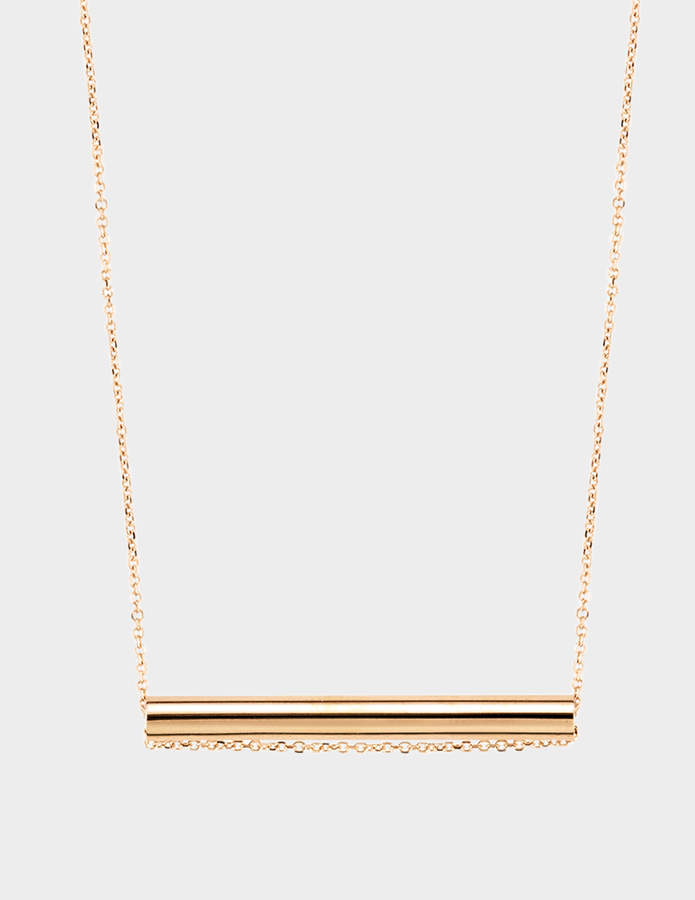 ginette_ny Straw 18-karat rose gold necklace