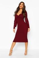 boohoo Plisse Pleated Sleeve Wrap Detail Midi Dress