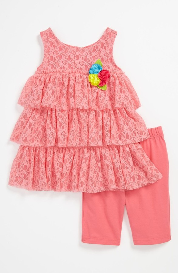 Sweet Heart Rose Dress & Leggings (Toddler)