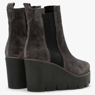 ALPE Alpaca Grey Suede Wedge Ankle Boots