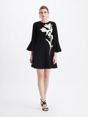 Oscar de la Renta Stretch-Wool Long Sleeve Embroidered Dress