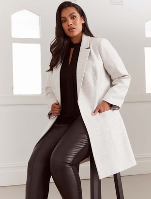 Forever New Mika Curve Luxe Wool-Blend Coat - Grey Marle - 18