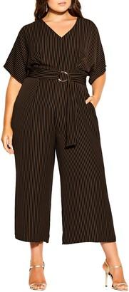 City Chic Romance Me Stripe Crop Jumpsuit
