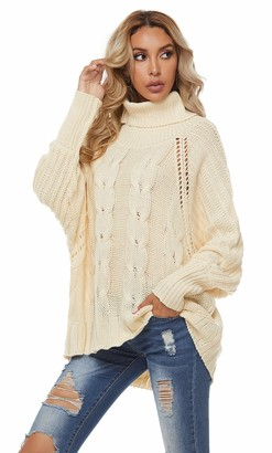 GOTIMAL Ladies Oversized Sweater Casual Loose Turtle Neck Jumper Women Long Sleeve Knit top White L