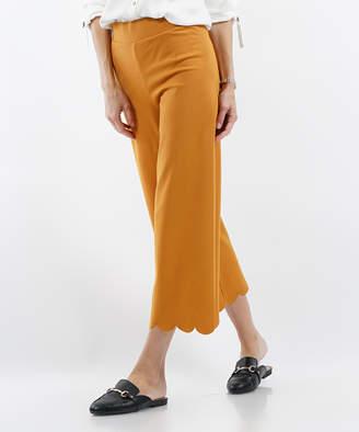 Lydiane Women's Casual Pants DESERT - Desert Mustard Scallop-Hem High-Rise Crop Pants - Women & Plus