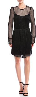 Bailey 44 Hayley Metallic Keyhole-Back Long-Sleeve Dress