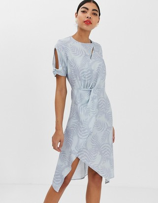 UNIQUE21 jacquard print twist midi wrap dress