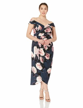 City Chic Women's Apparel Women's Plus Size Formal Off Shoulder Maxi Dress in Floral Print