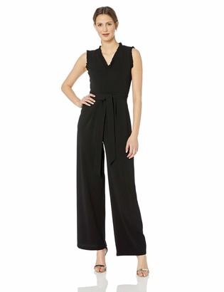 Calvin Klein Women's Sleeveless Jumpsuit with Ruffle Detail and Self Belt