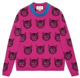 Gucci Mystic cat wool cashmere knit sweater