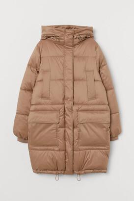 H&M Padded Hooded Jacket - Beige