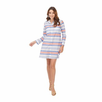 Mud Pie Women's Blue Stripe Collins Cover Up (Large)
