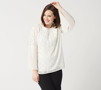 Isaac Mizrahi Live! Clipped Dot Blouse with Pleated Sleeves