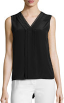 Elie Tahari Emi Sleeveless V-Neck Silk Blouse, Black