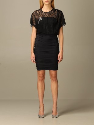 Pinko Elenio Lace And Jersey Dress With Brooch