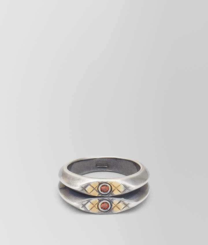 Bottega Veneta BROWN ANTIQUE SILVER STELLULAR RING