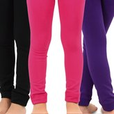 TeeHee Kids Girls Fleece Inner Brushed Thermal Leggings 3 Pack (, Pink+Purple+Black)