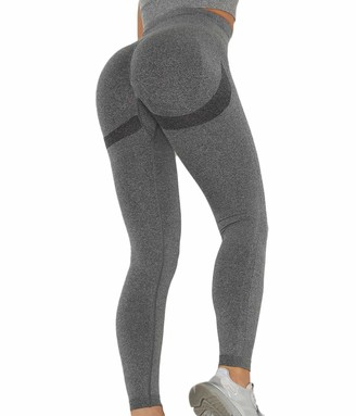 SLIMBELLE Women Seamless Gym Leggings High Waisted Yoga Pants Compression Sports Tights For Running Workout Fitness Scrunch Bums Butt Push Up Black Grey Pink