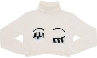 Chiara Ferragni Flirting Eye Cropped Wool Knit Sweater