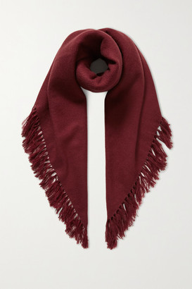 Isabel Marant Zila Fringed Cashmere And Wool-blend Scarf - Burgundy