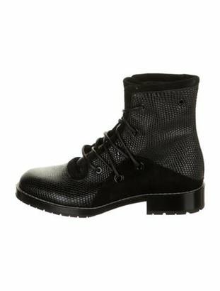 Proenza Schouler Snakeskin Combat Boots Black