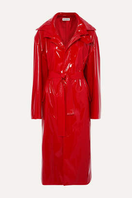 Balenciaga Belted Vinyl Trench Coat - Red