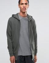 Asos Longline Zip Up Hoodie With Side Zips In Khaki