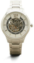 Kenneth Cole Automatic Silvertone Skeleton Stainless Steel Link Watch