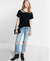 Express one eleven slash neck distressed tee