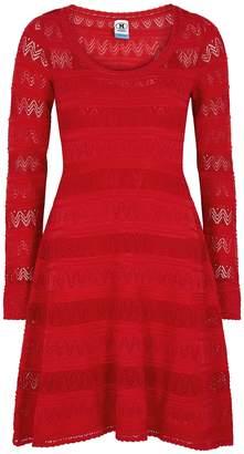 M Missoni Red Textured-knit Mini Dress