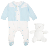 Emile et Rose Paw Embellished All-in-One Three Piece Set, Blue/White