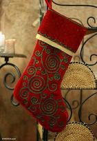 Fair Trade Hand Made Christmas Stocking, 'Christmas Sparkle'