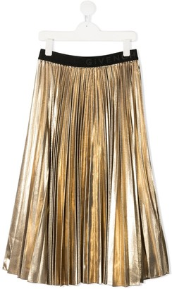 Givenchy Kids TEEN pleated logo waistband skirt