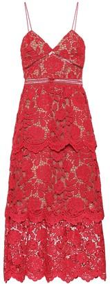 Self-Portrait Floral lace midi dress