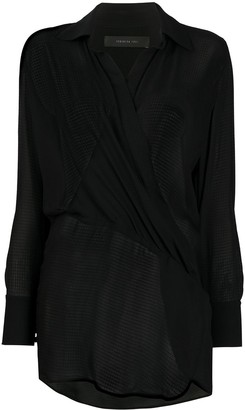 FEDERICA TOSI Long Sleeve Wrap Front Blouse