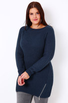 Yours Clothing Navy Knitted Longline Jumper With Zip Hem Detail