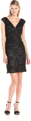 Marina Women's Missy Cap Sleeve Floral Sequined V-Neck Dress