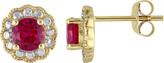Women's Amour SHB000690 Created Ruby Flower Birthstone Earring
