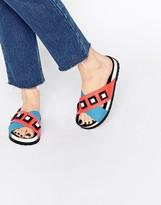 Kat Maconie Fifi Blue & Red Gem Slider Flat Sandals
